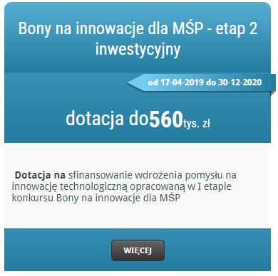 Bony na innowacje dla MŚP – dotacje na inwestycje